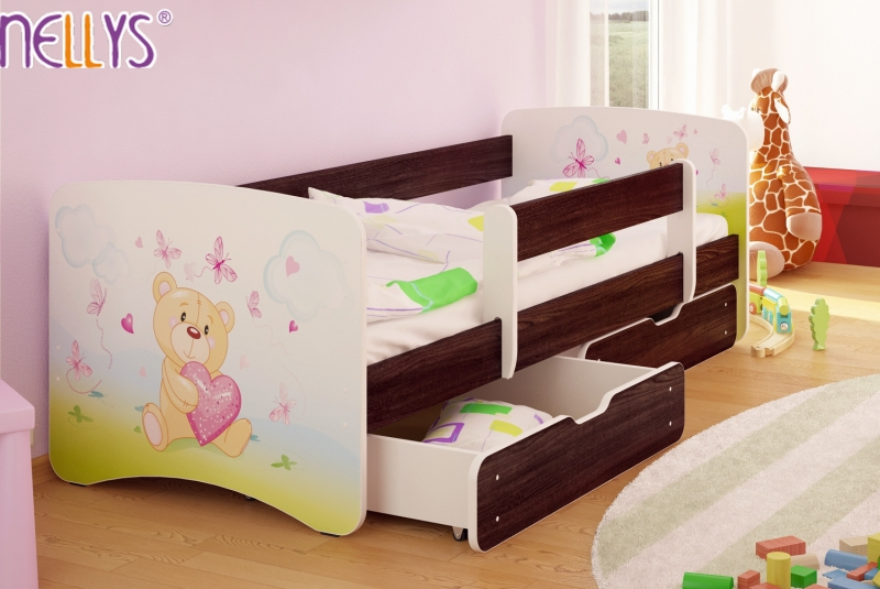 Dětská postel s bariérkou a šuplíkem/ky Nico - Míša srdíčko/tm. hnědá, 180x90 cm