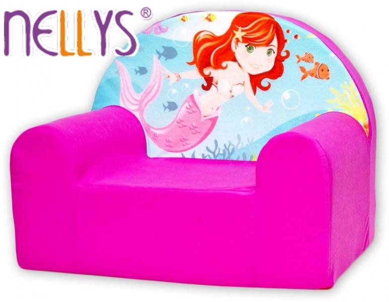 Dětské křesílko/pohovečka Nellys ® - Malá mořská víla, růžové