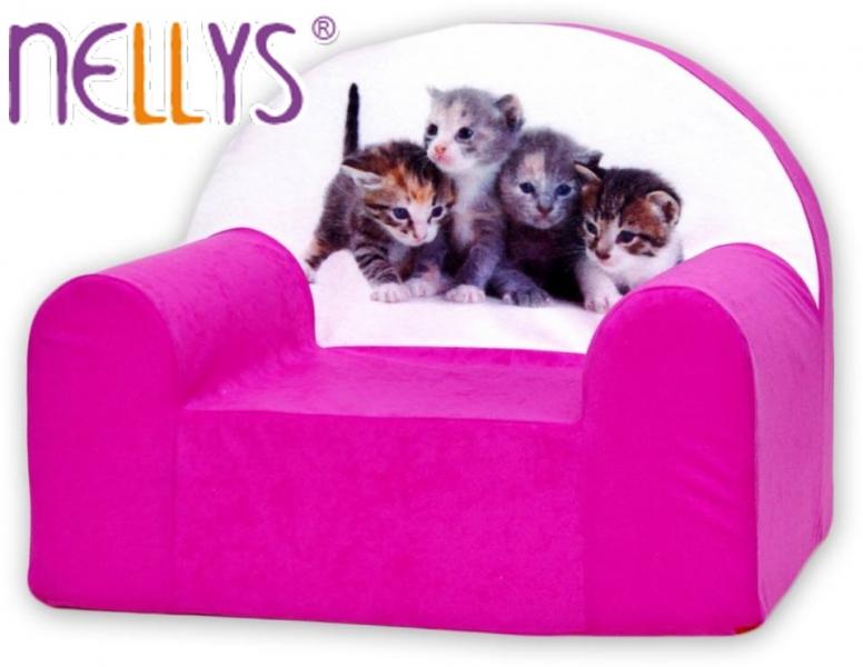 Fotografie Dětské křesílko/pohovečka Nellys ® - Kočičky v růžové