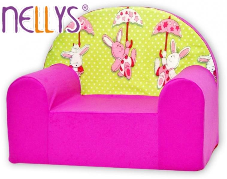 Dětské křesílko/pohovečka Nellys ® - Zajíčci v růžové