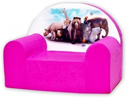 Dětské křesílko/pohovečka Nellys ® - Zvířata v růžové