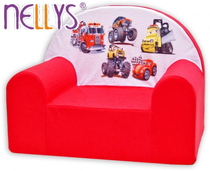 Dětské křesílko/pohovečka Nellys ® - Auta v červené