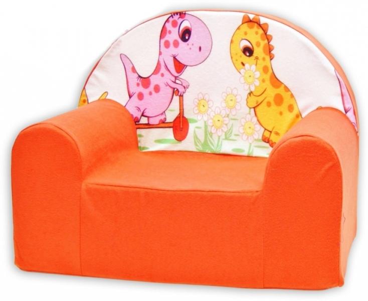Dětské křesílko/pohovečka Nellys ® - Dino v oranž