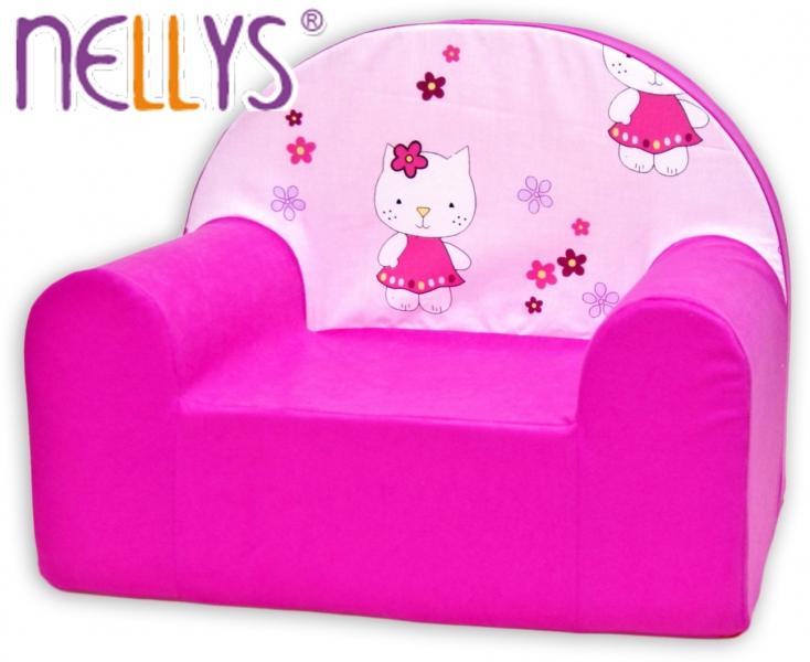Dětské křesílko/pohovečka Nellys ® - Kitty kočička, růžové