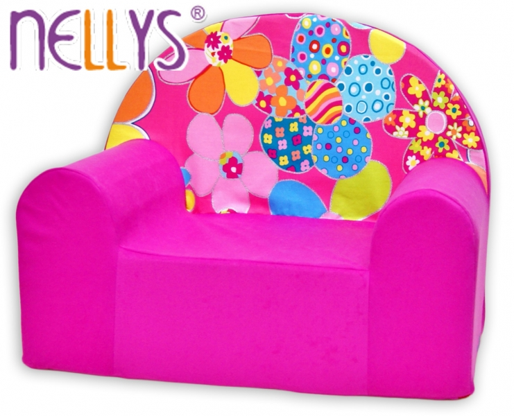 Dětské křesílko/pohovečka Nellys ® - Květinky v růžové