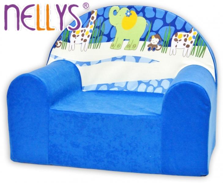Dětské křesílko/pohovečka Nellys ® - Safari v modré