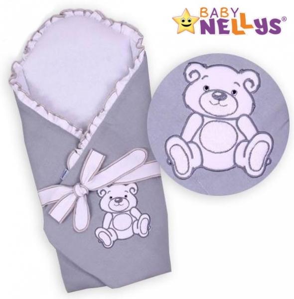 Baby Nellys Zavinovačka s výztuží Teddy Bear - jersey - šedá