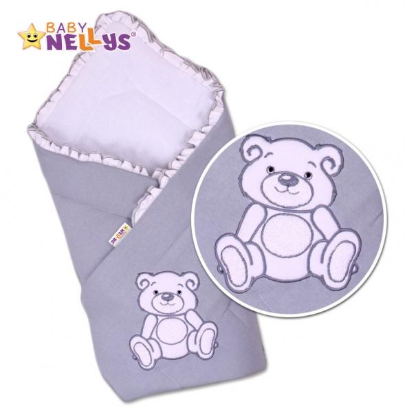 Baby Nellys Zavinovačka Teddy Bear - jersey - šedá