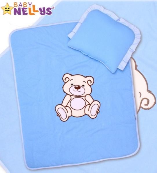 Baby Nellys 2-dílná sada do kočárku jersey Medvídek Teddy Bear - modrá