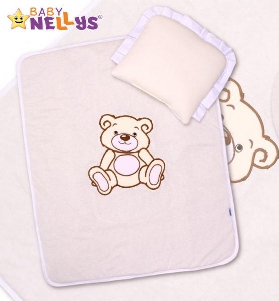 Baby Nellys 2-dílná sada do kočárku jersey Medvídek Teddy Bear - smetanová