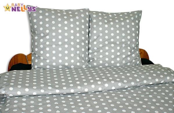 Bavlněné povlečení 140x200/70x90 - Puntiky v šedé