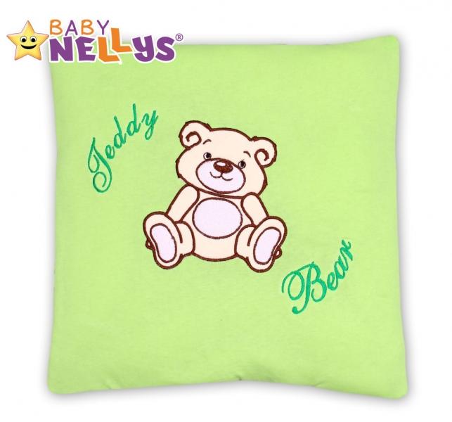 Baby Nellys Polštářek 40x40 Teddy Bear  - sv. zelený