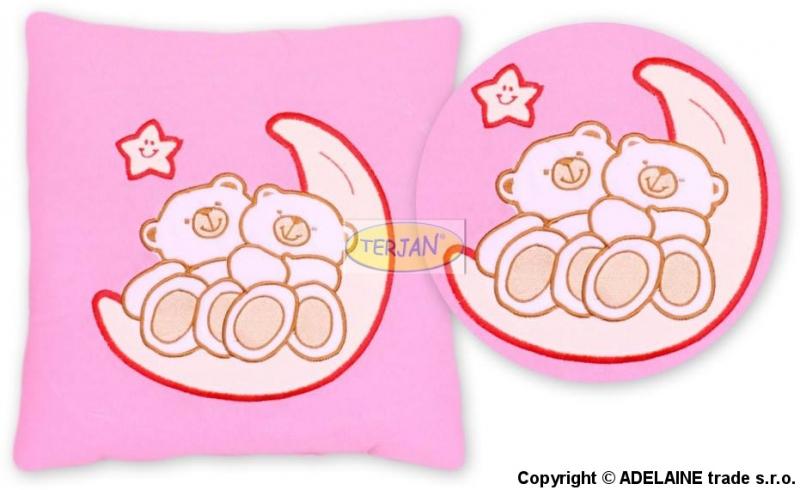 Polštářek 40x40 Míšové na měsíčku - růžový
