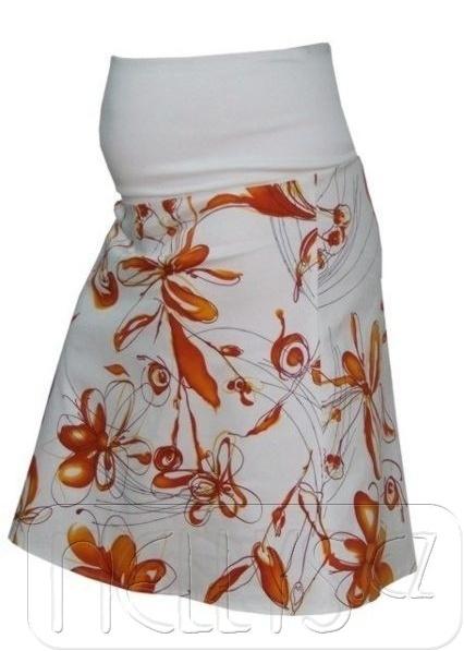 Těhotenská sukně KYTIČKA - pomeranč