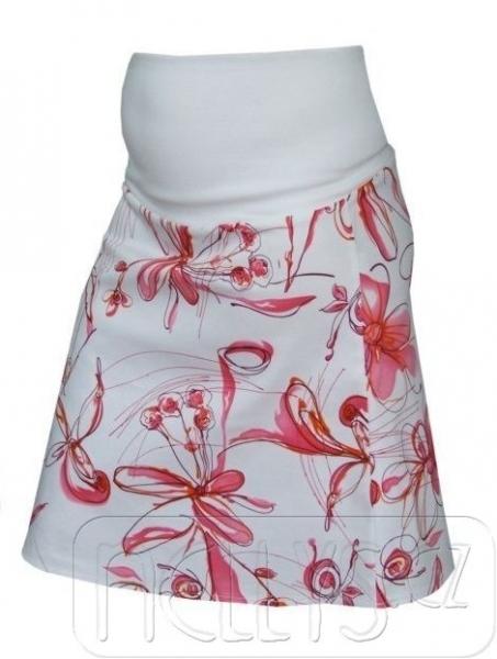 Těhotenská sukně KYTIČKA - růžová