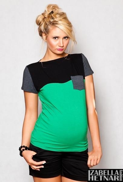 Těhotenské triko/halenka ANNA - zelené
