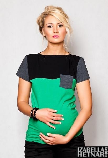 Be MaaMaa Těhotenské triko/halenka ANNA - zelené