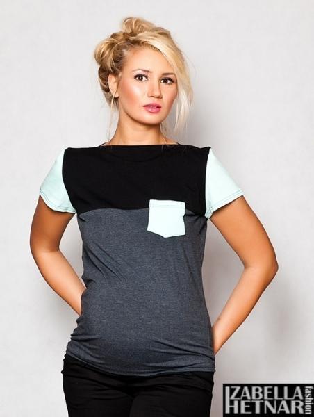 Těhotenské triko/halenka ANNA - grafitová