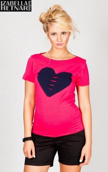 Těhotenské triko/halenka SRDCE - růžové