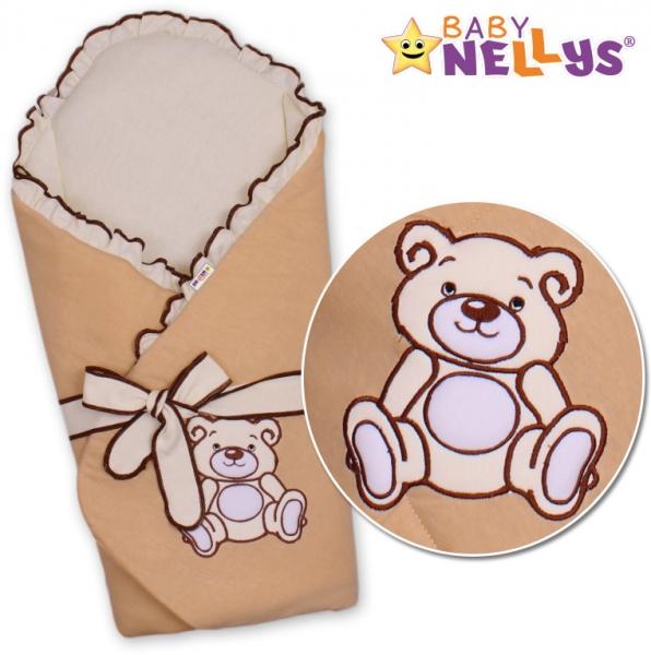 Baby Nellys Zavinovačka s výztuží Teddy Bear - jersey - hnědá