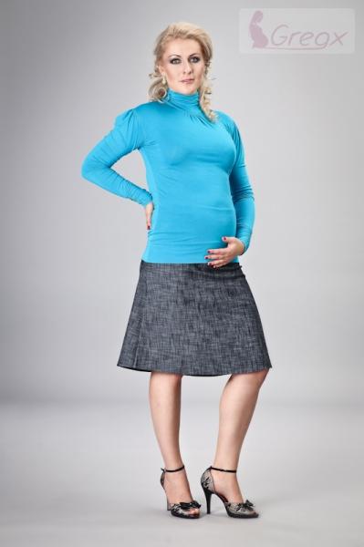 Elegantní těhotenská sukně DENIM - granát, Velikost: L
