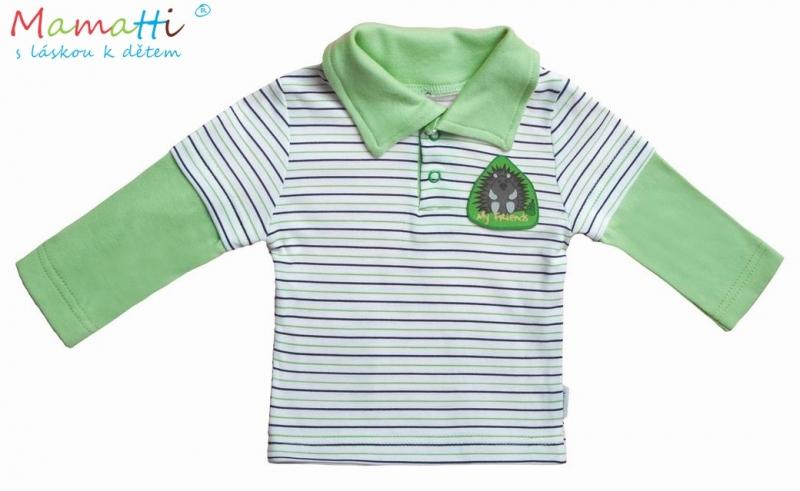 Polo tričko dl.rukáv Ježek - zelený proužek, Velikost: 68 (4-6m)