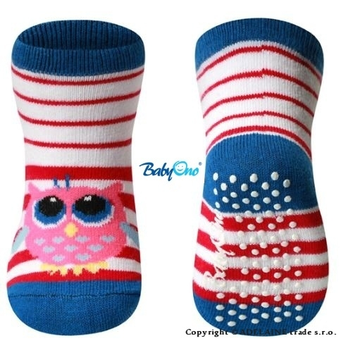 Bavlněné protiskluzové ponožky Baby Ono 6m+ - Sovička modrý lem