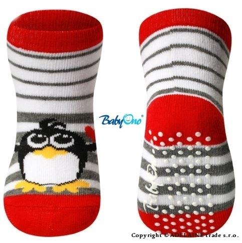 Bavlněné protiskluzové ponožky Baby Ono 6m+ - Tučnáček červený lem