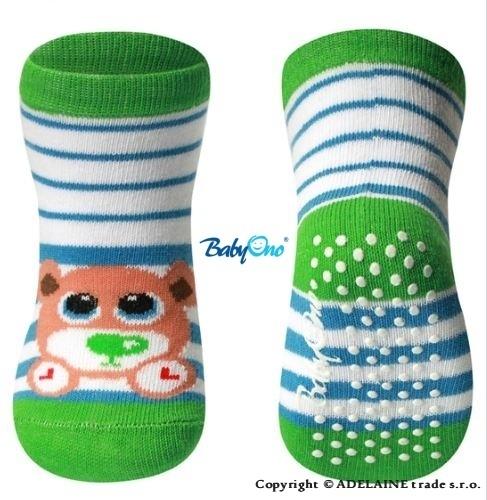 Bavlněné protiskluzové ponožky Baby Ono 6m+ - Tygřík zelený lem