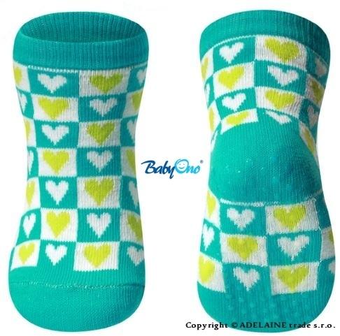 Bavlněné protiskluzové ponožky Baby Ono 6m+ - Srdíčka/kostičky tyrkys