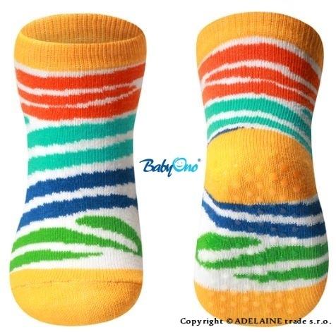 Bavlněné protiskluzové ponožky Baby Ono 6m+ - Barevná Zebra proužky