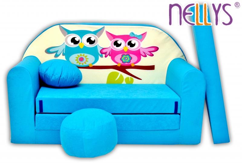 Rozkládací dětská pohovka Nellys ® Sovičky - modré