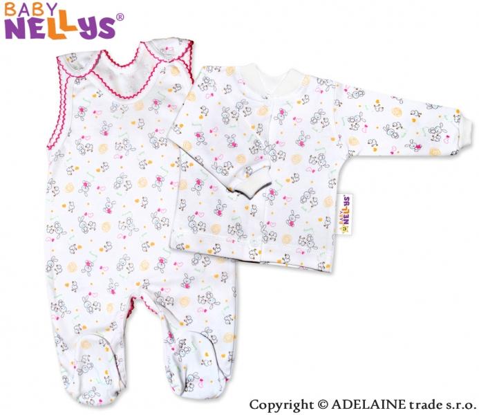 2D souprava - Košilka a dupačky - Králíček růžový (Velikost: 74,