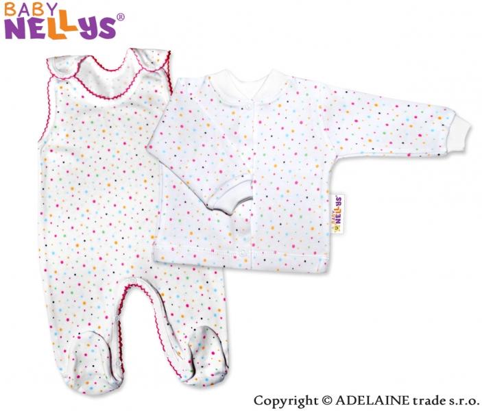 2D souprava - Košilka a dupačky - Puntíky růžové (Velikost: 74,