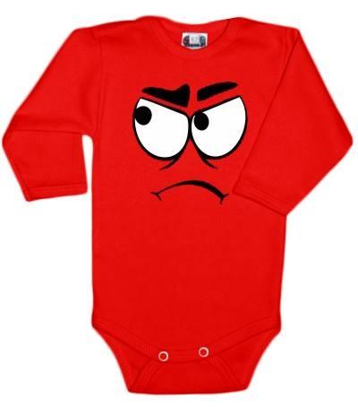 Baby Dejna Body dlouhý rukáv  s Tváří - červené