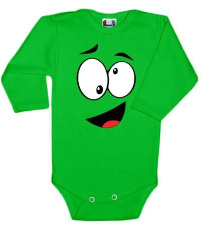 Baby Dejna Body dlouhý rukáv  s Tváří - zelené
