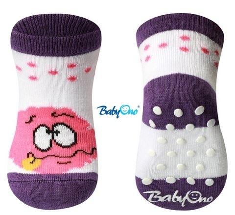 Bavlněné protiskluzové ponožky Baby Ono 0m+ - Třešnička