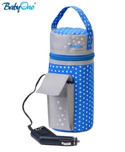 Cestovní ohřívač do auta Baby Ono - modrý - barva: Modrý s puntíky, nr.kat. 193, BO, [737]