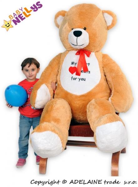 Plyšový Medvěd Baby Nellys Michal - tm. béžový - My heard baets for you. - Plyšový Medvěd Baby Nellys - vel. 180cm, Barva: Tm. béžový