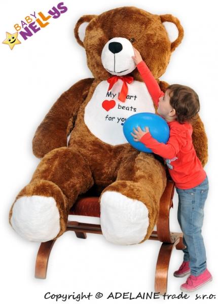 Plyšový Medvěd Baby Nellys Michal - tm. hnědý - My heard baets for you. - Plyšový Medvěd Baby Nellys - vel. 180cm, Barva: tm. hnědý