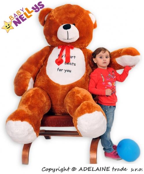 Plyšový Medvěd Baby Nellys Michal - hnědý - My heard baets for you. - Plyšový Medvěd Baby Nellys - vel. 180cm, Barva: Hnědý