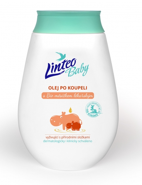 Olej po koupeli s BIO měsíčkem lékařským LINTEO BABY, 250 ml