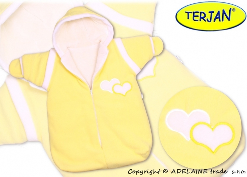 Zimní kombinéza SRDÍČKO - krémová/žlutá