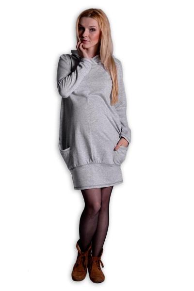Sportovní těhotenské šaty s kapucí - šedý melírek, Velikost: L/XL