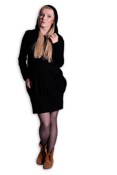 Be MaaMaa Sportovní těhotenské šaty s kapucí - černé