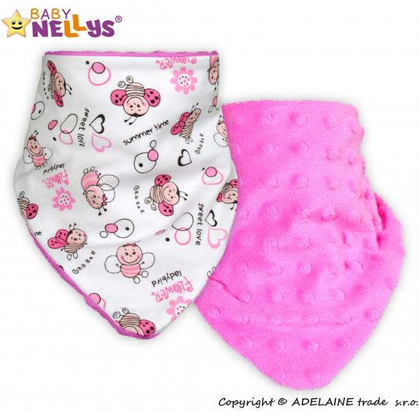 Dětský šátek/bryndáček na krk Baby Nellys ® MINKY - Beruška/sytě růžová (Vzor: Beruška/sytě růžová MINKY BABY,Baby Nellys ®KJBN)