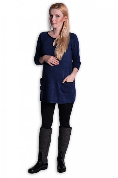 Be MaaMaa Tunika, šaty 3/4 rukáv - inkoust, vel. L/XL