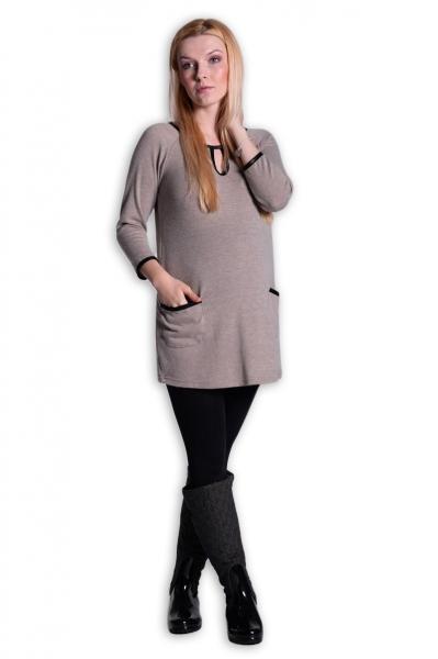 Tunika, šaty 3/4 rukáv - béžová, Velikost: S/M