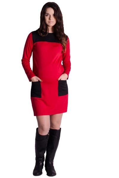 Be MaaMaa Těhotenské šaty/tunika - červené