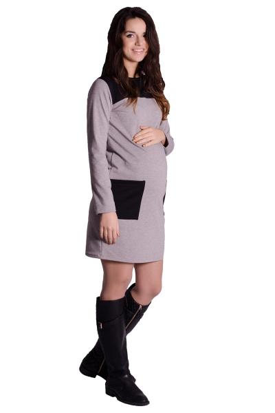 Be MaaMaa Těhotenské šaty/tunika - tm. šedý melír
